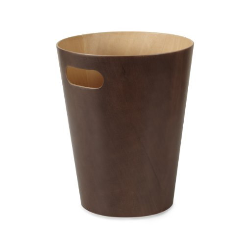Umbra Woodrow 2 Gallon Modern Wooden Trash Can Wastebasket Or Recycling Bin For Home Or Office Espresso 0