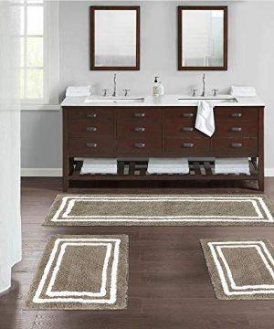 Uphome Bathroom Rug Luxury Camel Banded Shaggy Bath Mat 20x31 Inch Non Slip Plush Door Carpet Soft Microfiber Water Absorbent Floor Rugs For Shower Bathtub 0 5 300x360