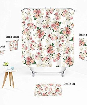 Uphome Pink Rose Flower With Leaves Customized Bathroom Shower Curtain Pink Waterproof And Polyester Fabric Bath Curtain Design72 W X 72 H 0 0 300x360