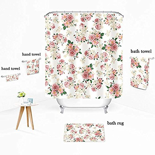 Uphome Pink Rose Flower With Leaves Customized Bathroom Shower Curtain Pink Waterproof And Polyester Fabric Bath Curtain Design72 W X 72 H 0 0