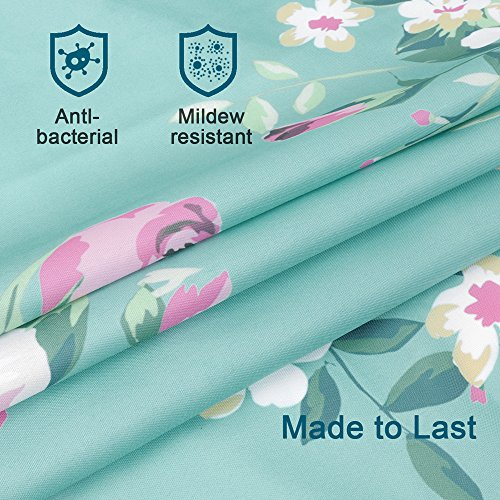 Uphome Pink Rose Flower With Leaves Customized Bathroom Shower Curtain Pink Waterproof And Polyester Fabric Bath Curtain Design72 W X 72 H 0 1