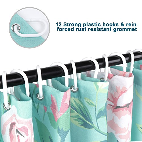 Light Blue Theme Decoration Shower Curtain Flowers Waterproof Polyester Fabric