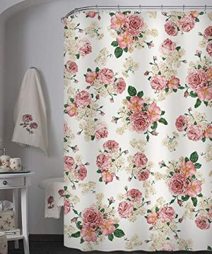 Uphome Pink Rose Flower With Leaves Customized Bathroom Shower Curtain Pink Waterproof And Polyester Fabric Bath Curtain Design72 W X 72 H 0 300x360