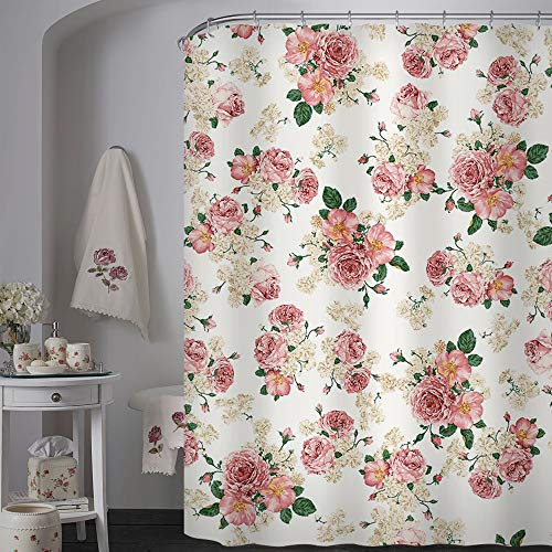 Uphome Pink Rose Flower With Leaves Customized Bathroom Shower Curtain Pink Waterproof And Polyester Fabric Bath Curtain Design72 W X 72 H 0