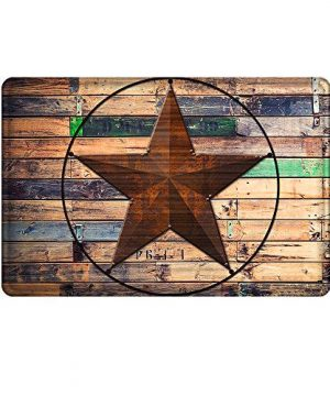 Uphome Rustic Barn Star Bathroom Rug Non Slip Coral Velvet Foam Bath Mat With Design Retro Western Texas Star On Brown Wooden Grain Shower Mat Kitchen Rug 20x32 0 300x360