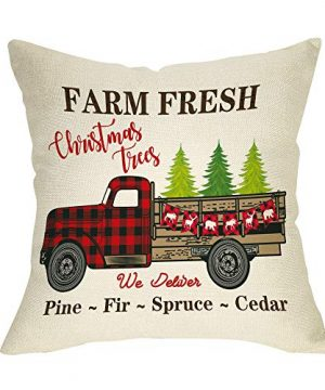 Ussap Farm Fresh Christmas Trees Vintage Red Truck Winter Holiday Decoration Merry Xmas Farmhouse Decorative Throw Pillow Cover Cushion Case For Sofa Couch Home Decor Cotton Linen 18 X 18 0 300x360