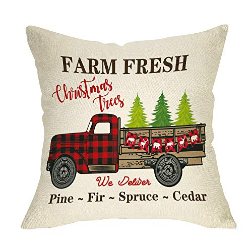 Ussap Farm Fresh Christmas Trees Vintage Red Truck Winter Holiday Decoration Merry Xmas Farmhouse Decorative Throw Pillow Cover Cushion Case For Sofa Couch Home Decor Cotton Linen 18 X 18 0