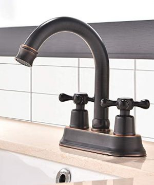 VAPSINT Commercial Two Handles Stainless Steel Centerset Lavatory Vanity Oil Rubbed Bronze Bathroom FaucetTwo Handles Bathroom Faucet Without Pop Up Drain 0 300x360