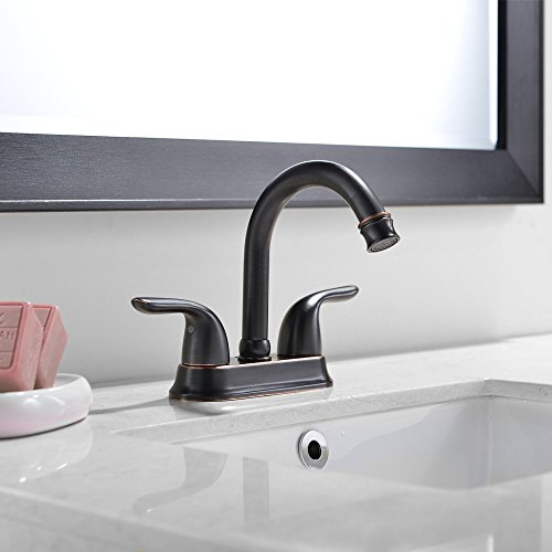 VCCUCINE Antique Solid Brass 2 Handle Oil Rubbed Bronze Bathroom Faucet Lavatory Vanity Vessel Sink Faucet Without Pop Up Drain 0 0
