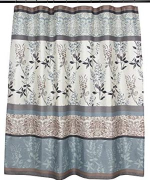 VCNY Home Ashley Light Blue Beige Grey Canvas Fabric Shower Curtain Contemporary Floral Bordered Damask Design 72 By 72 Inches 0 0 300x360