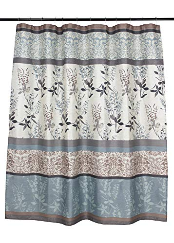 VCNY Home Ashley Light Blue Beige Grey Canvas Fabric Shower Curtain Contemporary Floral Bordered Damask Design 72 By 72 Inches 0 0