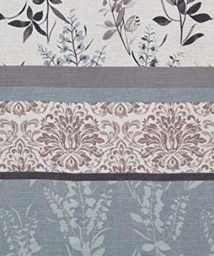 VCNY Home Ashley Light Blue Beige Grey Canvas Fabric Shower Curtain Contemporary Floral Bordered Damask Design 72 By 72 Inches 0 1 300x360