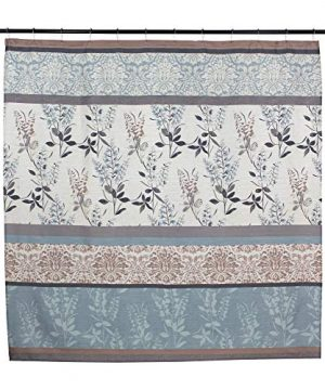 VCNY Home Ashley Light Blue Beige Grey Canvas Fabric Shower Curtain Contemporary Floral Bordered Damask Design 72 By 72 Inches 0 2 300x360