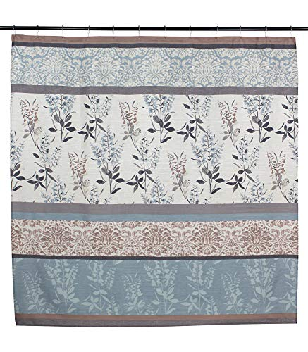 VCNY Home Ashley Light Blue Beige Grey Canvas Fabric Shower Curtain Contemporary Floral Bordered Damask Design 72 By 72 Inches 0 2