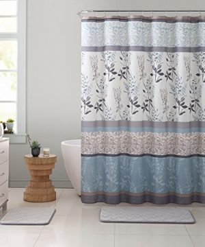 VCNY Home Ashley Light Blue Beige Grey Canvas Fabric Shower Curtain Contemporary Floral Bordered Damask Design 72 By 72 Inches 0 3 300x360