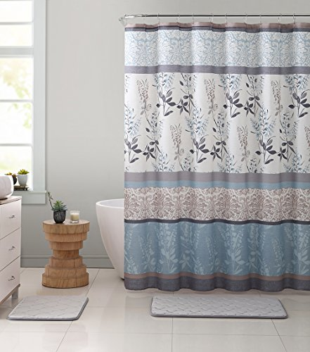 VCNY Home Ashley Light Blue Beige Grey Canvas Fabric Shower Curtain Contemporary Floral Bordered Damask Design 72 By 72 Inches 0 3