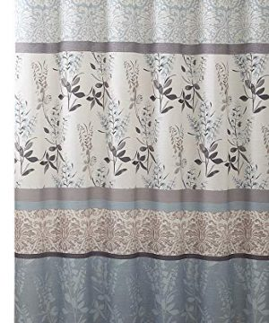 VCNY Home Ashley Light Blue Beige Grey Canvas Fabric Shower Curtain Contemporary Floral Bordered Damask Design 72 By 72 Inches 0 300x360