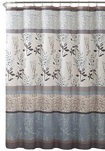 VCNY Home Ashley Light Blue Beige Grey Canvas Fabric Shower Curtain Contemporary Floral Bordered Damask Design 72 By 72 Inches 0