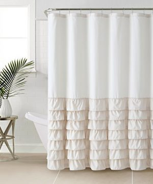 VCNY Melanie Ruffle Shower Curtain Taupe 0 300x360