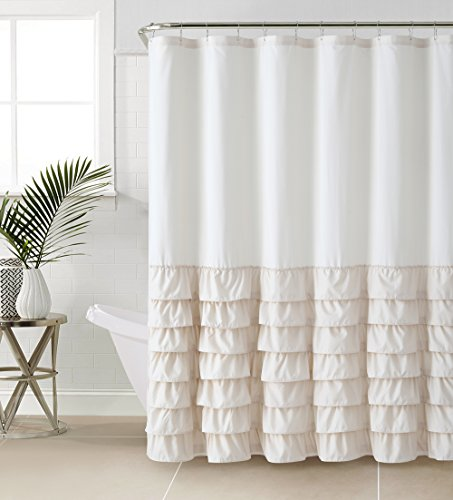 VCNY Melanie Ruffle Shower Curtain Taupe 0