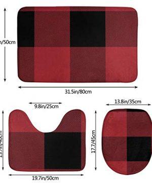 VFAraggl Buffalo Check Pattern Bathroom Mat 3 Pieces Set Soft Non Slip Bathroom Rugs U Shaped Toilet Mat Toilet Lid Cover 0 0 300x360