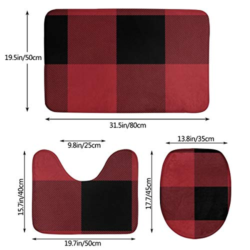 VFAraggl Buffalo Check Pattern Bathroom Mat 3 Pieces Set Soft Non Slip Bathroom Rugs U Shaped Toilet Mat Toilet Lid Cover 0 0
