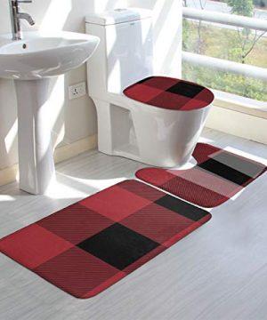 VFAraggl Buffalo Check Pattern Bathroom Mat 3 Pieces Set Soft Non Slip Bathroom Rugs U Shaped Toilet Mat Toilet Lid Cover 0 1 300x360