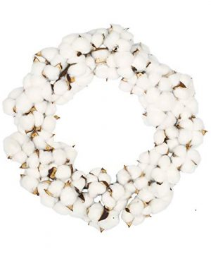VGIA 16 Inch Real Cotton Wreath Farmhouse Decor Christmas Vintage Wreath Adjustable Stems 0 300x360