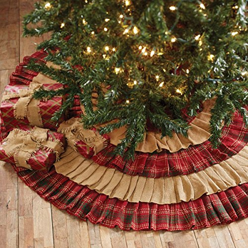 VHC Brands Christmas Holiday Decor Whitton Red Tree Skirt King 0 0