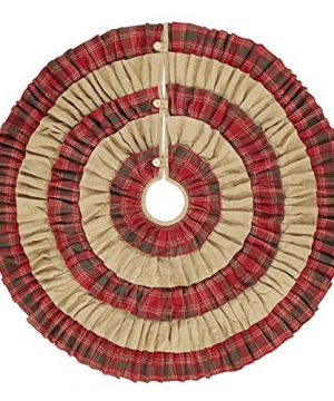 VHC Brands Christmas Holiday Decor Whitton Red Tree Skirt King 0 300x360