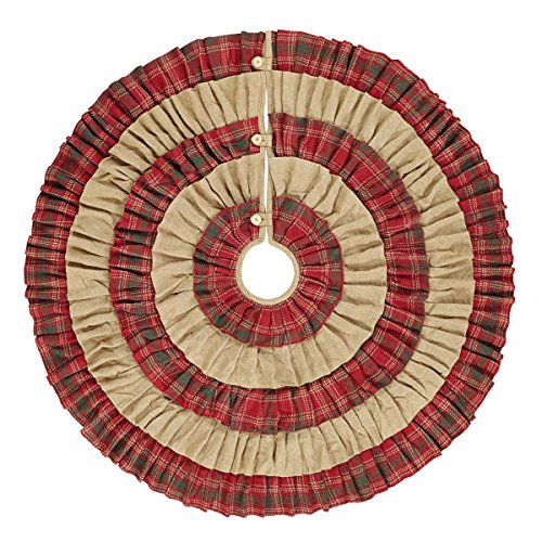 VHC Brands Christmas Holiday Decor Whitton Red Tree Skirt King 0