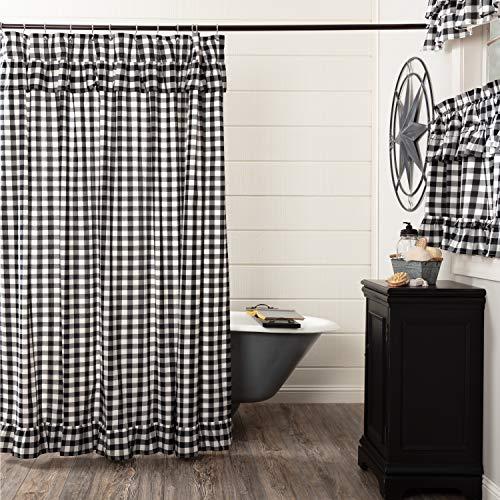 VHC Brands Farmhouse Bath Annie Rod Pocket Cotton Button Holes Hooks Buffalo Check Shower Curtain Black Country 0 0