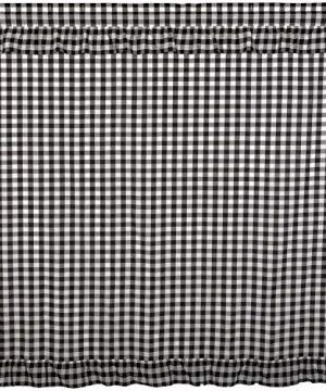 VHC Brands Farmhouse Bath Annie Rod Pocket Cotton Button Holes Hooks Buffalo Check Shower Curtain Black Country 0 300x360