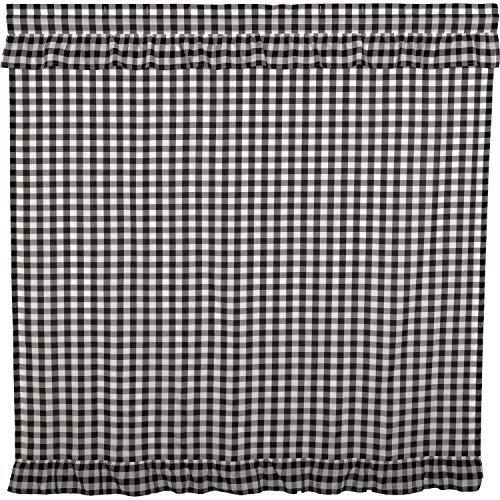 VHC Brands Farmhouse Bath Annie Rod Pocket Cotton Button Holes Hooks Buffalo Check Shower Curtain Black Country 0