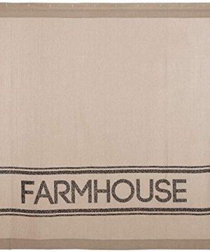 VHC Brands Farmhouse Bath Sawyer Mill Rod Pocket Cotton Button Holes Hooks Stenciled Chambray Text Shower Curtain Khaki Tan 0 300x360
