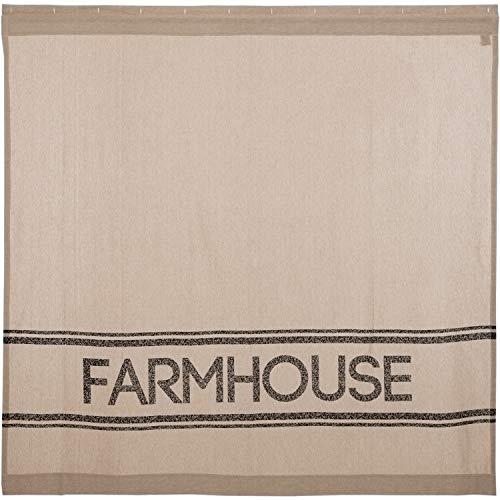 VHC Brands Farmhouse Bath Sawyer Mill Rod Pocket Cotton Button Holes Hooks Stenciled Chambray Text Shower Curtain Khaki Tan 0