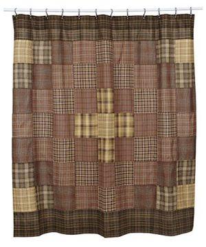 VHC Brands Rustic Lodge Bath Prescott Brown Shower Curtain 72 X 72 0 300x360