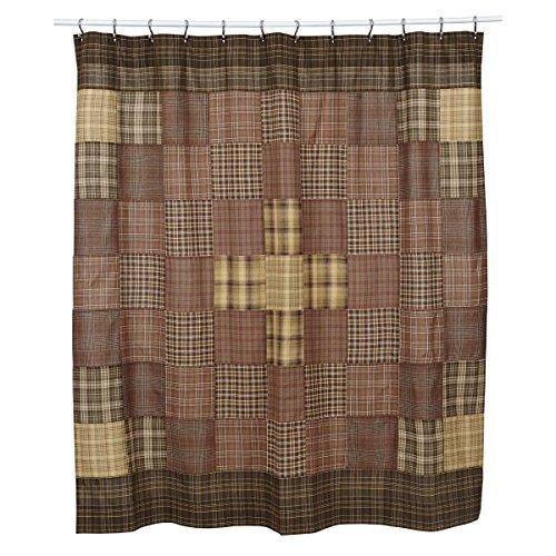 VHC Brands Rustic Lodge Bath Prescott Brown Shower Curtain 72 X 72 0