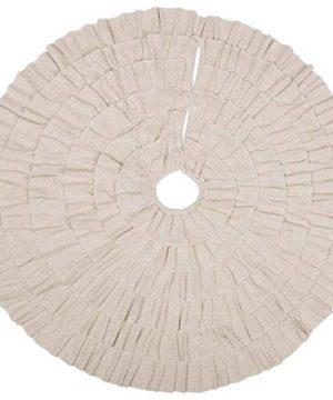 VHC Brands Shimmer Burlap Creme Ruffle 50 Tree Skirt Diameter 0 300x360