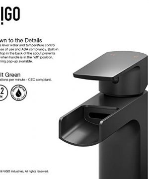 VIGO VG03026MB Amada Solid Brass Single Handle Vessel Bathroom Faucet With DIY Single Hole Installation And Premium 7 Layer Plated Matte Black Finish 0 3 300x360