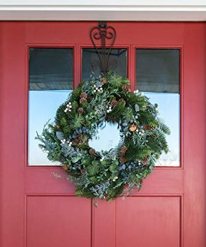 VILLAGE LIGHTING COMPANY 24 Inch Artificial Christmas Wreath Rustic White Berry Collection Natural Decoration Consisting Of Pinecones White Berries Frosted Foliage And Miscellaneous Greenery 0 0 300x360