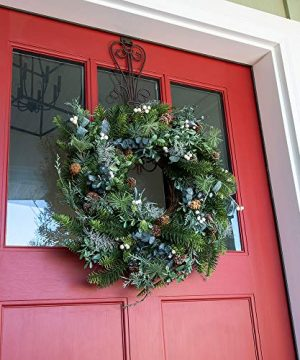 VILLAGE LIGHTING COMPANY 24 Inch Artificial Christmas Wreath Rustic White Berry Collection Natural Decoration Consisting Of Pinecones White Berries Frosted Foliage And Miscellaneous Greenery 0 1 300x360