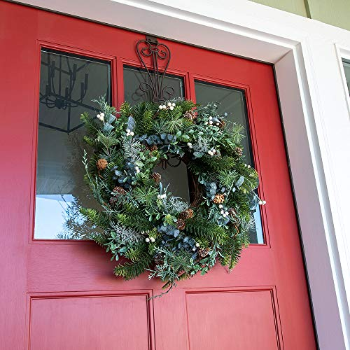 Village Lighting Company 24 Inch Artificial Christmas Wreath Rustic White Berry Collection Natural Decoration Consisting Of Pinecones