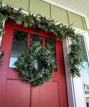 VILLAGE LIGHTING COMPANY 24 Inch Artificial Christmas Wreath Rustic White Berry Collection Natural Decoration Consisting Of Pinecones White Berries Frosted Foliage And Miscellaneous Greenery 0 2 300x360