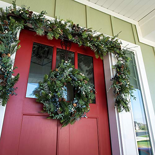 VILLAGE LIGHTING COMPANY 24 Inch Artificial Christmas Wreath Rustic White Berry Collection Natural Decoration Consisting Of Pinecones White Berries Frosted Foliage And Miscellaneous Greenery 0 2