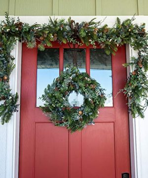 VILLAGE LIGHTING COMPANY 24 Inch Artificial Christmas Wreath Rustic White Berry Collection Natural Decoration Consisting Of Pinecones White Berries Frosted Foliage And Miscellaneous Greenery 0 3 300x360