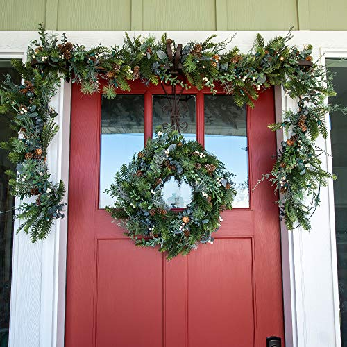 VILLAGE LIGHTING COMPANY 24 Inch Artificial Christmas Wreath Rustic White Berry Collection Natural Decoration Consisting Of Pinecones White Berries Frosted Foliage And Miscellaneous Greenery 0 3