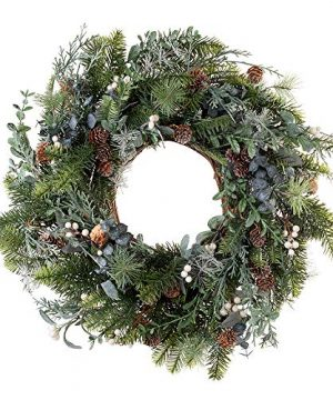 VILLAGE LIGHTING COMPANY 24 Inch Artificial Christmas Wreath Rustic White Berry Collection Natural Decoration Consisting Of Pinecones White Berries Frosted Foliage And Miscellaneous Greenery 0 300x360