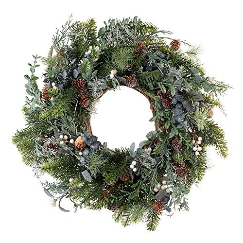 VILLAGE LIGHTING COMPANY 24 Inch Artificial Christmas Wreath Rustic White Berry Collection Natural Decoration Consisting Of Pinecones White Berries Frosted Foliage And Miscellaneous Greenery 0