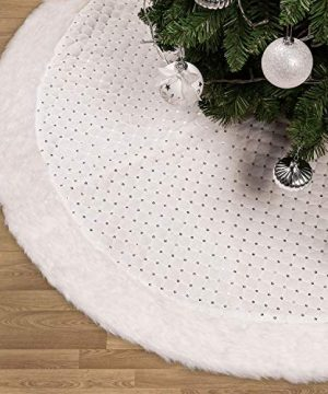 Valery Madelyn 48 Inch Frozen Winter Silver White Christmas Tree Skirt With Sequins And Faux Fur Themed With Christmas Ornaments Not Included 0 300x360